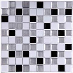 Idea Regalo - ART-ECO Ecoart Adesivi Decorativi per Piastrelle, Adesivo da Parete, Piastrelle di Gel, Progettazione di Mosaico, Effetto 3D, Autoadesivo, per Il Bagno o la Cucina(Bianco e Nero)