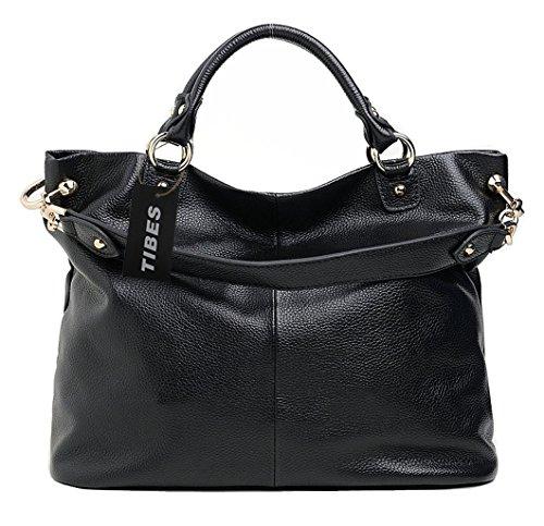 Tibes echtes Leder Handtaschen damen Schultertasche Tote Damen Tasche (Echtes Leder Tasche Damen)