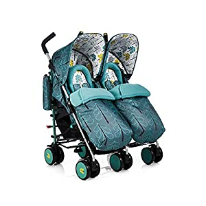 Cosatto Supa Dupa Double/Twin Stroller, Suitable from Birth, Fjord BABIFIS Baby Twins Strollers Tow Baby Vacuum Tire Stroller Portable Twins Buggy Multi States to Adjust Double Seats The stroller can folding without dismantle the chair, compare with some products, it s more convenience, and sample holding, the frame can be hold quickly 10