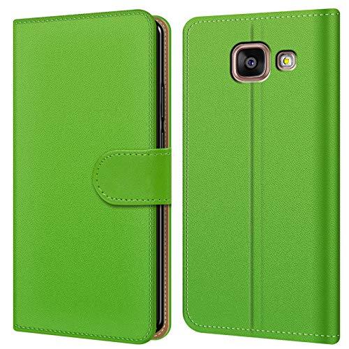 Conie BW27925 Basic Wallet Kompatibel mit Samsung Galaxy A3 2016, Booklet PU Leder Hülle Tasche mit Kartenfächer und Aufstellfunktion für Galaxy A3 2016 Case Grün