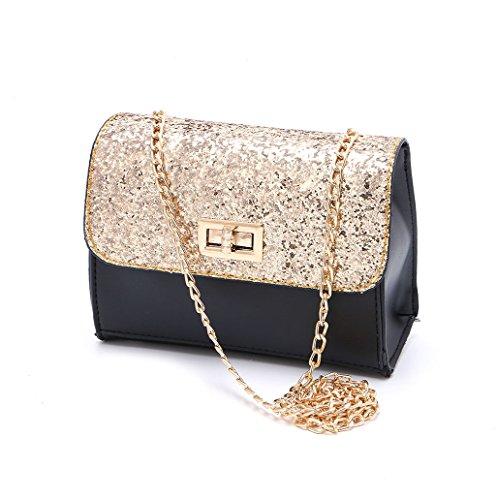 Dairyshop Borse della borsa della borsa della spalla del messaggero del Crossbody del cuoio del Faux delle donne di modo Nuovo (nero) oro