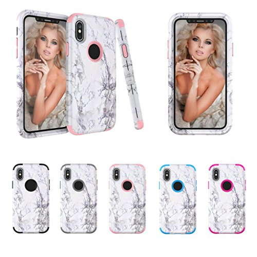 Hkfv Amazing creative Gorgeous pattern cover Iphonex Phone case granito marmo contrasto color PC Cover rigida per iPhone x Hot Pink
