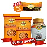 Dhampur Green Organic Jaggery Powder 700 G And Gur Chana (Pack Of 2) 300 G, Free Jaggery 220g
