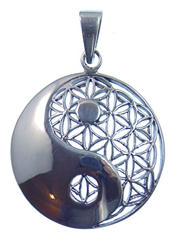 Silber Anhänger Blume des Lebens & Yin Yang, 925 Sterling Silber, Symbol der Einheit und des Gleichgewichts im Universum, Versand innerhalb 24 Stunden !!!