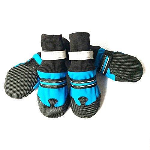 etbotu General Hund Schuhe, wasserdicht reflektierende Anti-Rutsch Stiefel Beute für Schnee Winter, blau, xl (Beute-leder-schuhe Blaue)