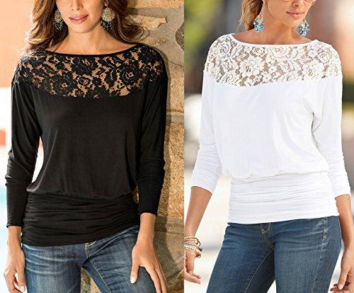 Flying Rabbit Femme Mode Casual Vrac Tunique Top Shirt Col Rond de Dentelle Manches Longues Elastique Pull Tops Blouse Noir