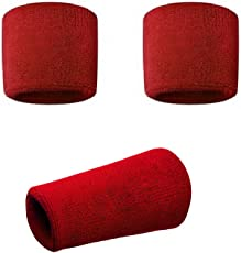 Red Sports All Weather And Washable Stuff Wrist Bands - Pack of 3