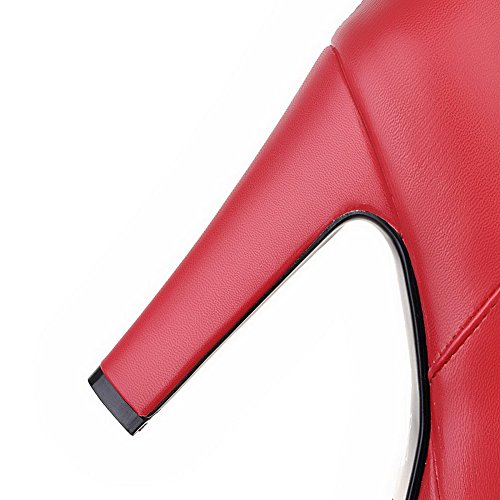 VogueZone009 Donna Cerniera Punta Tonda Tacco Alto Bassa Altezza Stivali con Vetro Diamante Rosso