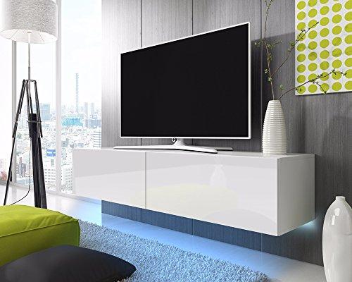Support TV flottant Lana 200 cm (Blanc mat/Blanc brillant LED Bleu