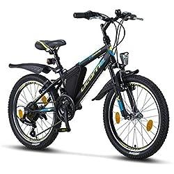 """Licorne Bike Guide, VTT 26"""", 24"""", 20"""", Shimano 21 Vitesses, Suspension à Fourche, vélo pour Enfant, vélo pour garçon et Fille, Garçon, Noir/Bleu/Citron Vert, 20"""