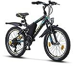 Licorne Bike Guide, (Schwarz/Blau/Lime), 20 Zoll Mountainbike, geeignet für 6,7,8, 9 Jahre,Shimano 21 Gang-Schaltung,Gabelfederung, Kinderfahrrad, Jungenfahrrad, Mädchenfahrrad, MTB, Rahmentasche