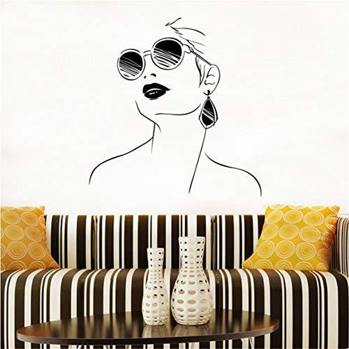 Wandtattoo Frau mit Brille Wandtattoo Modernes Design Interieur Salon Türen und Fenster Vinyl Wandtattoo Girl Face Art 57x59cm