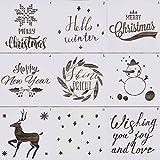 9 x Weihnachts-Malschablonen, wiederverwendbare Kunststoff-Schablonen, 20,3 x 20,3 cm, Zeichnungs-Vorlage für Weihnachten, Urlaub, DIY, Karten, Tagebuch, Scrapbooking