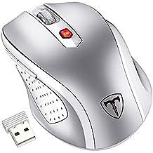Ratón Inalámbrico de VicTsing, Portátil 2.4G con Receptor Nano, 6 Botones, 2400DPI, 5 DPI Adjustables (Color: Plata)