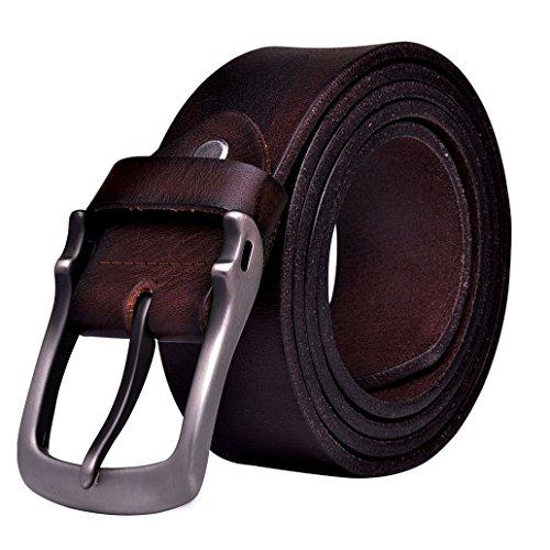 Teemzone Cintura Jeans in Pelle Uomo Rosso Marrone 38mm Occasionale (Lunghezza 125cm Girovita 109-119cm, scuro)