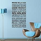 rimovibile Autoadesivo Adesivi da parete CITAZIONI ' ITALIANO FAMIGLIA ' arte murale decalcomania vinile DECORAZIONE CASA fai-da-te VIVENTE camera letto carta parati cameretta bimbi regalo 60x110
