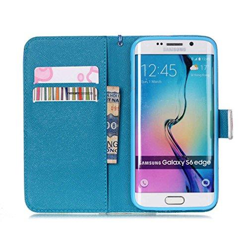 Meet de Samsung Galaxy S6 Edge Bookstyle Étui Housse étui coque Case Cover smart flip cuir Case à rabat pour Galaxy S6 Edge Coque de protection Portefeuille - this iphone is locked slide to unloke Snow Mountain