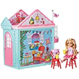 Barbie DWJ50 FAMILY Chelsea Clubhouse Portable Play, Colourful Building, Doll Included, Kitchen Set Playset