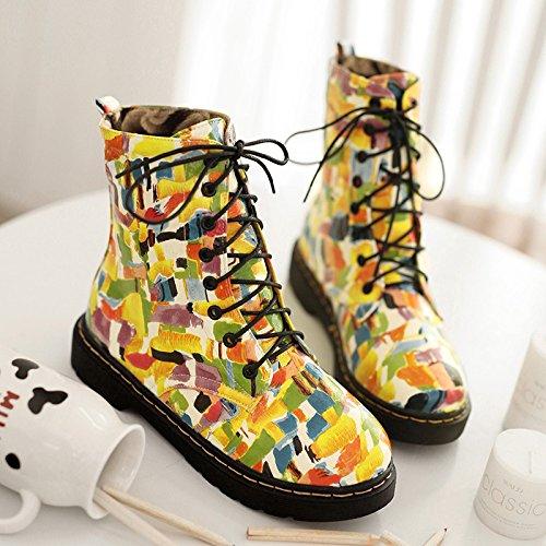 &ZHOU Bottes d'automne et d'hiver courtes bottes femmes adultes Martin bottes Chevalier bottes A37 Yellow