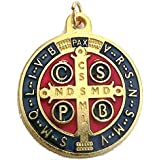 GTBITALY 60.049.21 medaglia di San Benedetto Oro Smaltata Misura 32 mm con Anello prete esorcismo Suora Chiesa sacerdote Sant