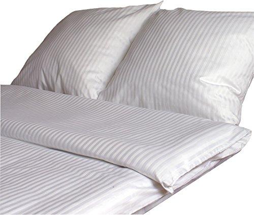 KMP Baumwolle Damast Bettwäsche Set 10 mm Streifen Neu mit Hotelverschluss 135x200✓155x200✓200x220 cm (155 cm x 200 cm) -