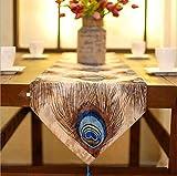 1PCS 33x200cm moda moderna del pavone della piuma Tabella del corridore del pattino del corridore del panno del randello della tabella della grata Personalità semplice, 2