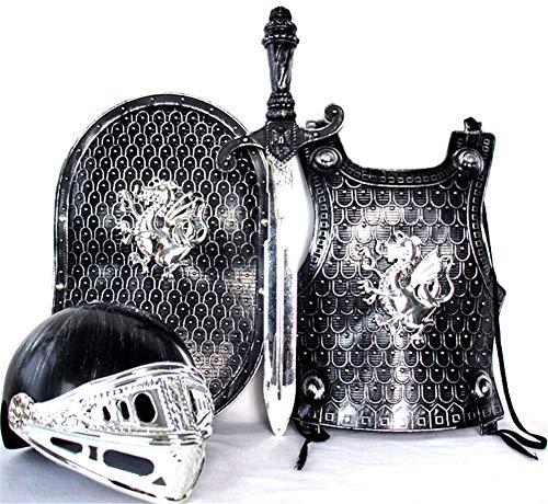 Rüstung Kostüm Brustplatte - Lvbeis Kind Ritter Rüstung Ritterkostüm - Helm, Schwert, Schild, Brustplatte Kinder Krieger Cosplay,Bronze