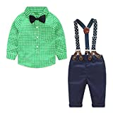Yilaku Baby Jungen Bekleidungssets Hosen & Shirt Gentleman Hosenträger Krawatte (Grün, 6-12 Monate)