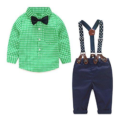 Yilaku Bambino Prima Infanzia Camicie e Pantaloni Completini e Coordinati Abbigliamento Bianco Verde 2 3 Anni