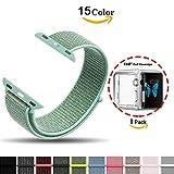 Chok Idea Armband für Apple Watch, [mit klarer TPU Hülle], 38mm Nylon Sportöse mit Klettverschluss verstellbares Verschlussband für iWatch Apple Watch Serie 3/2/1 Sport und Edition,Marine Green