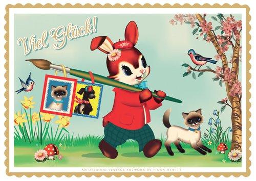 Postkarte A6 +++ COTTON CANDY von modern times +++ VIEL GLÜCK HASE +++ TREND IMPORT © COTTON CANDY / HEWITT, Fiona (Candy Glück Viel)