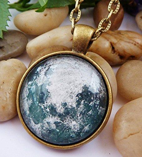 Halskette mit Mond, Planet Halskette, Männerschmuck