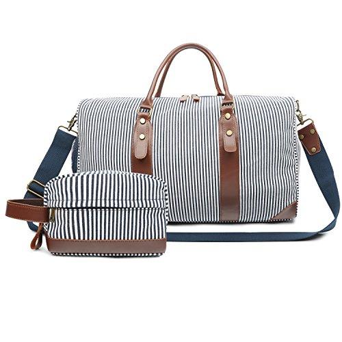 Vintage Große Weekender Schuhfach Reisetasche Sporttasche Damen Herren Segeltuch Leder Handgepäck für Wochenend Urlaub (Streifen)