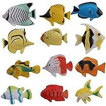 JER 12pcs Peces Tropicales Figuras Criatura del mar Océano Figuras de Juguete de plástico del Animal