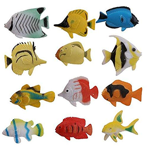 JiaHan 12pcs Tropical Fish Figures Sea Creature Ocean Plastic Toy Figures Sea Animal Toy Collection Set Presentation Model