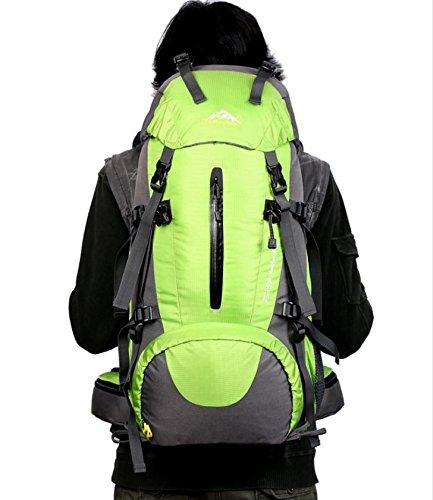 Camping Klettern Wandern Tasche Regen Deckel Rucksack Große Kapazität für Männer und Frauen 50L grün
