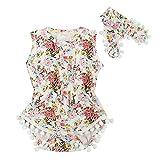 puseky Baby Mädchen Blume Spieler & Haarband Strampler Sommer Kleidung Set 0-6 Monate