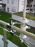 2 Stck - Schirmehalter Holly STABIELO 360 ° schwenkbare patentierte - 55 mm Ø (Reduzierhülse) SCHIRMHALTERUNG - STABIELO - 13 cm abnehmbare Aufnahmehülse mit ABSTANDS - GEWINDE - ACHSE von 6 + 11 cm zum Geländer - Befestigung mit 360 ° drehbare patentierte MULTI - halterung GVC für runde oder eckige Elemente bis zu 55 mm - Made in Baden-Württemberg - Vertrieb - holly mobiler Sonnenschutz-mobile sunshade holly ® - VIDEO: https://vimeo.com/249523750 -
