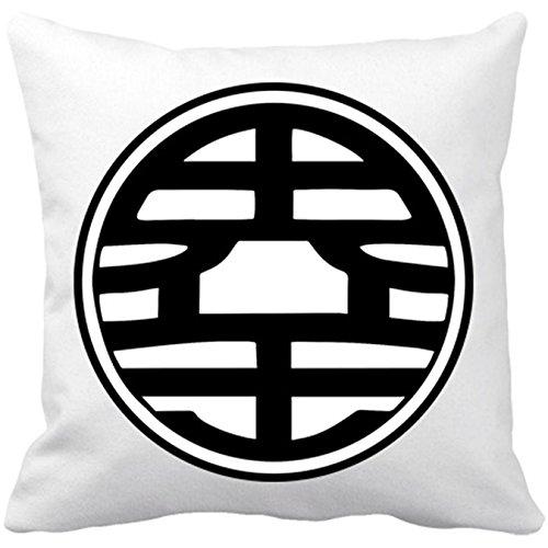 Cojín con relleno Dragon Ball logo Goku de Kaito - Blanco, 35 x 35 cm
