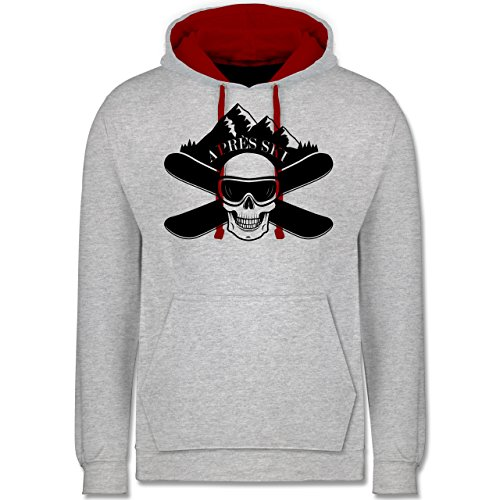 Après Ski - Apres Ski Totenkopf - Kontrast Hoodie Grau Meliert/Rot