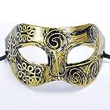 Originaltree - Máscara de media cara para hombre, diseño vintage de prince, ideal para disfraz de Halloween, fiesta, graduación, graduación, fiesta, máscara, retro, horror y antigüedad, media cara, anime Prince, dorado