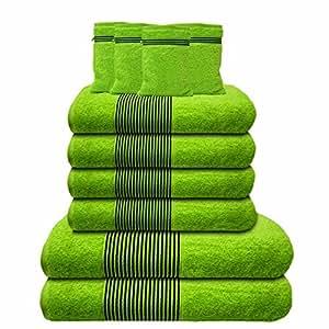 Liness-Stripes 10 tlg Handtuch-Set 4 Handtücher 50x100 cm 2 Duschtücher Badetücher 70x140 cm 4 Waschhandschuhe Waschlappen 16x21 cm 100% Baumwolle grün