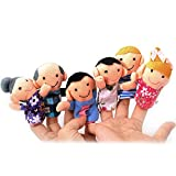 TOOGOO(R) Cute 6pcs Family Finger Puppets - People Includes Mom, Dad, Grandpa, Grandma, Brother, Sister Free Cable Tie