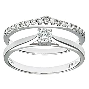 Naava 9 ct White Gold 0.33 ct Diamond Bridal Set Wishbone Ring