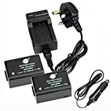 DSTE® 2-Pack Spare Battery and DC108U Travel Charger Kit for Panasonic DMW-BMB9 Lumix DMC-FZ40 DMC-FZ45 DMC-FZ47 DMC-FZ48 DMC-FZ60 DMC-FZ62 DMC-FZ70 DMC-FZ72 DMC-FZ100 DMC-FZ150 V-Lux2 V-Lux3 Camera as Leica BP-DC9