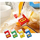SpiderJuice Easy Quick Instant Reusable Snack Bag Pouch Snappy Sealing Clip Cable Flag Marker Organizer For Keeping Food Fresh (Pack Of 2, Random Color)