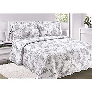 Ashley Mills Quilted Vintage Shabby Chic Toille Bedspread/Comforter Throw (King Size)