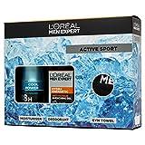 L'Oreal Men Expert Active Sport Gift Set For Him: Moisturiser, Deodorant & Gym Towel