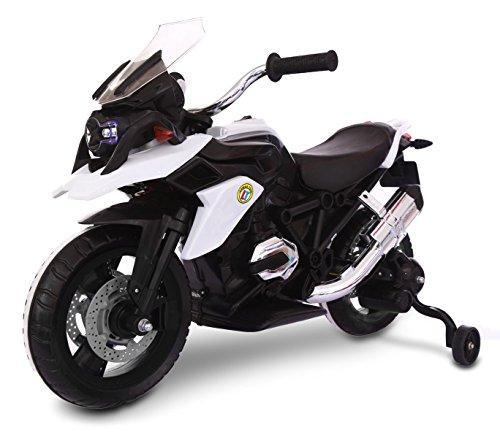 Moto da corsa LT873 per bambini Flower elettrica BIANCA 12V con luci led sulle ruote. MEDIA WAVE store ®