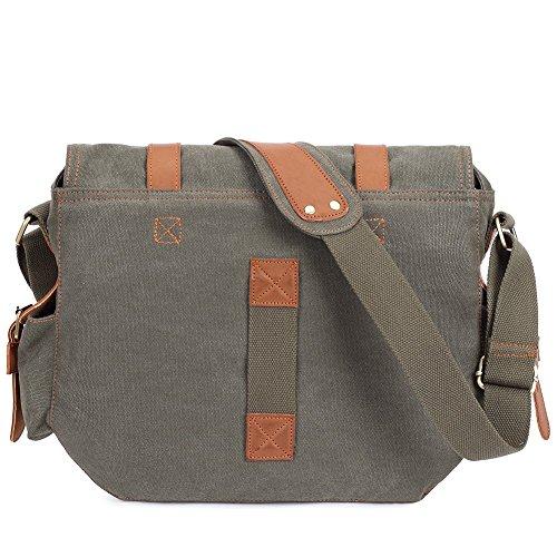 KAUKKO Herren Retro Messenger Tasche Wandern Brusttasche Umhängetasche Grau Army Grün